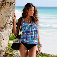 Print Floral Plus Size Swimwear Women Larger Size Cup Tankini Female Bikini 2017 High Waist Swimsuit Sexy Halter Monokini XXXL(China)
