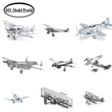 Metal Earth 3D Model Kits DIY metal jigsaw puzzle Set of 9 Planes: Spirit of St Louis, Wright Brothers,P-51 Mustang F4U Corsair