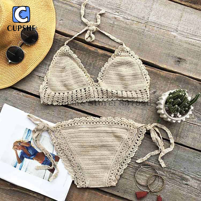 Cupshe Butter Cake Crochet Tie at back Bikini Set Summer Sexy Swimsuit Ladies Beach Bathing Suit swimwear<br><br>Aliexpress