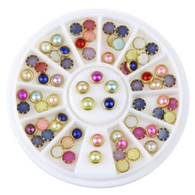 ELESSICAL Colorful Acrylic Nail Glitter Wheel Glitter Gold Plated Nail Art Jewelry Women Fingernail Decoration Supply WY165(China)
