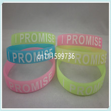 I PROMISE wristband, silicon bracelet, promotion gift, GLOW IN THE DARK,custom design wristband, 100pcs/lot, free shipping(China)