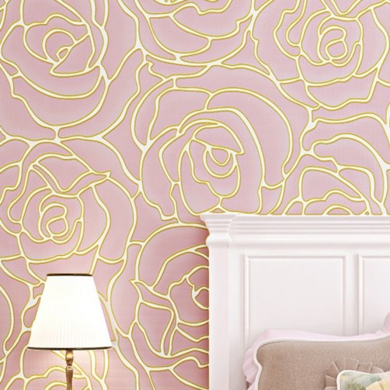 Free Shipping 3D Stereo Relief Nonwovens Rose Wallpaper Living Room TV Background Wall Bedside Wedding Wallpaper<br>