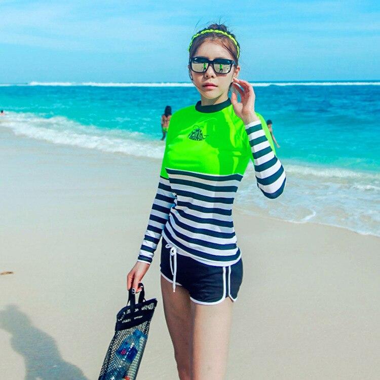 Plus Size Swimwear Swim Suit Bikini Set 2017 Wear Beachwear Lycra Surf Windsurfing Korea Long Sleeve Plavky Maillot De Bain<br><br>Aliexpress