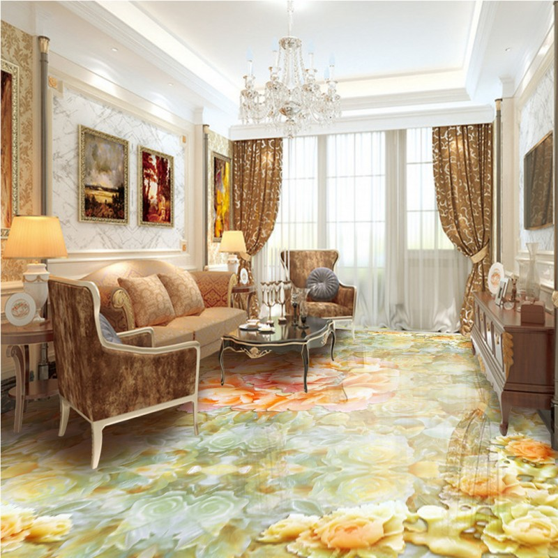 Free Shipping Jade carving peony parquet flooring floor lobby self-adhesive bedroom porch thicken floor mural<br>