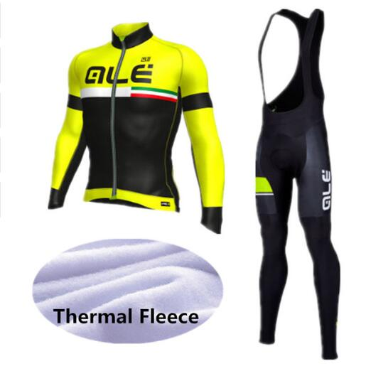 ALE Cycling Set Winter Thermal Fleece Long Sleeves Cycling Jerseys Ropa Ciclismo Bicycle MTB Bike Cycling Clothing 9D Gel Pad<br>