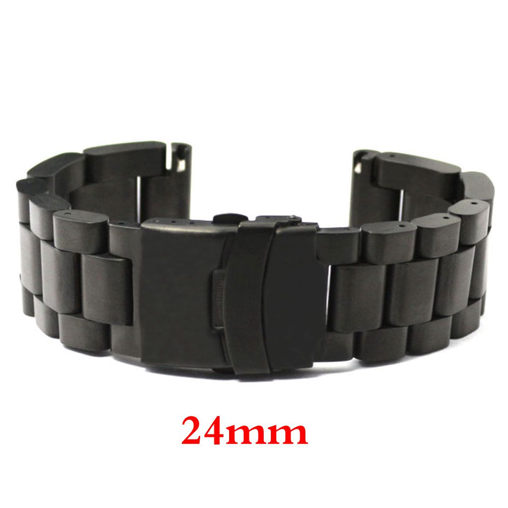 Fashion Men Women Watch Band 24mm Black Stainless Steel Strap for Hours with Folding Claps with Safty Replacement GD013524<br>