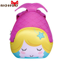 NOHOO Mermaid Children kids cartoon 3D Backpacks Back to School Neoprene Unisex designer backpack Red Preppy style Backpack-40(China)