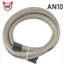 evil energy 1M AN10 Stainless Steel Oil Hose End Fuel Hose Double Braided Fuel Line Universal Car Turbo Oil Cooler Hose 1500 PSI