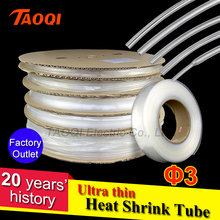 3MM Ultra thin Transparent Clear Heat Shrink Tube Shrinkable Cable Tubing Insulation Sleeving Wrap Wire kits wholesale price(China)