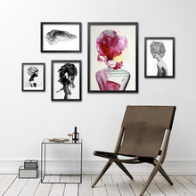 Fashion Trendy Girls Canvas Painting Abstract Figures Canvas Print Women Wall Art Room Picture, Home Decor YT0062(China)