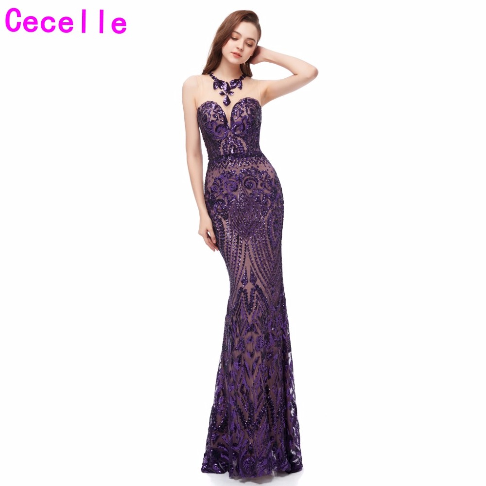 Hot Purple Sequins Long Mermaid Evening Dresses 2019 Sleeveless African Women Formal Evening Party Gowns Black Girl Prom Dress
