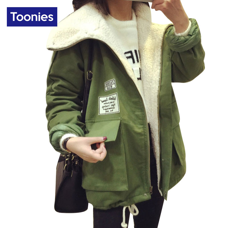 High Quality Winter Jacket Women 2017 Fashion Letter Patch Pocket Thick Warm Casual Coat Female Park Green Black Coats OuterwearОдежда и ак�е��уары<br><br><br>Aliexpress