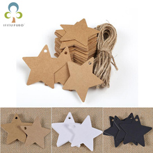 100pcs/lot Kraft paper five - pointed star tag baking listing blank tag product logo card creative Christmas tree decoration LYQ(China)