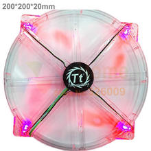 Colorful LED fan, Red Blue Yellow Green, 200mm, 20cm fan, silent, for computer Case, 20020 fan, thin, TT20020A