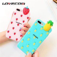 LOVECOM Cartoon 3D Fruits DIY Phone Case For iphone 6 6s 6 7 8 plus X Banana Watermelon Strawberry pineapple Soft TPU Back Cover(China)