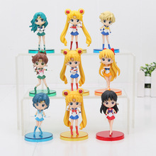 9pcs/lot Anime Sailor Moon Figure Toys Cute Mercury Hino Rei PVC Action Model Collectible Dolls