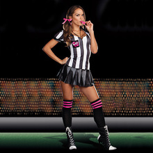 Eurocup White And Black Strip Referee Cheerleader Costumes Sexy Football Girls Cosplay Halloween Dress