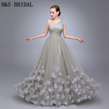 HS11 One Shoulder Ladies Popular Evening Dress A Line robe de soiree Evening Party Flowers Prom Dresses Tulle Long Evening Gown(China)