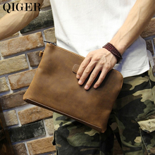 QIGER Crazy Horse PU Leather Zippers Men's Clutch Bag Vintage Large Capacity Ipad Handbag Envelope Bag