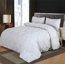 Luxurious Comforter Set White Black Grey Pinch Pleat Queen Size Blanket Quilt with Pillow Case Bedding Sets