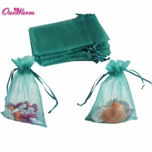 100Pcs/lot Wedding Favors and Gift Bags Teal Blue Wedding Candy Box Strong Sheer Organza Pouch Candy Bag Event Party Supplies