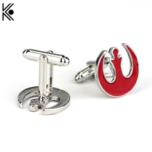 Movie Jewelry Cuff Links Star Wars Cufflinks Red Enamel Alliance Starbird Cufflinks  High Quality Shirt Brand Cuff Buttons