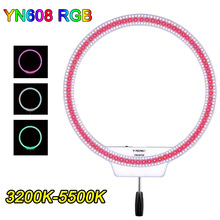 YONGNUO YN608 RGB SMD Full Color 3200K-5500K Annular Frameless LED Video Ring Light for Live Video and Beauty Selfie Remote Grip