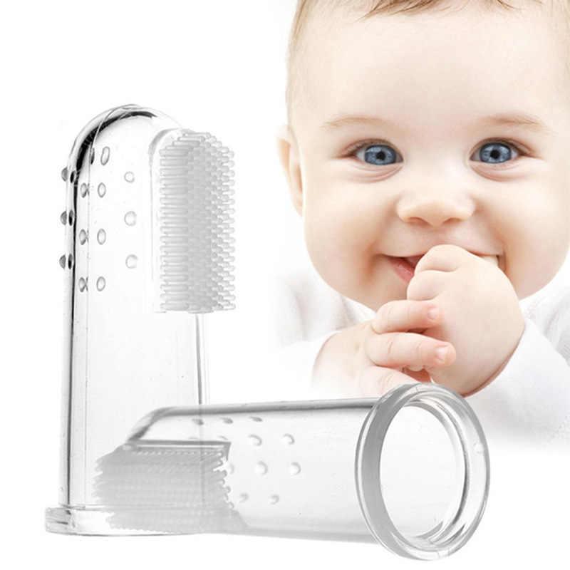 Baby Infant Kid Soft Silicone Finger Toothbrush Teeth Gum Massage Brush UK Stock
