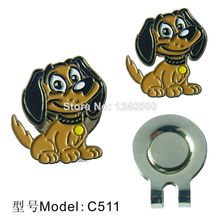 Free Shipping Brand New Cute puppy Golf Ball Marker with Magnetic Hat Clip, 2pcs/lot , Golf Acessories, Wholesale Price