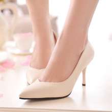 New Fashion Style Women High Heels Good Quality Special Design Thin Heels Plain Pumps Black Beige Slip-on Pointed Toe Office