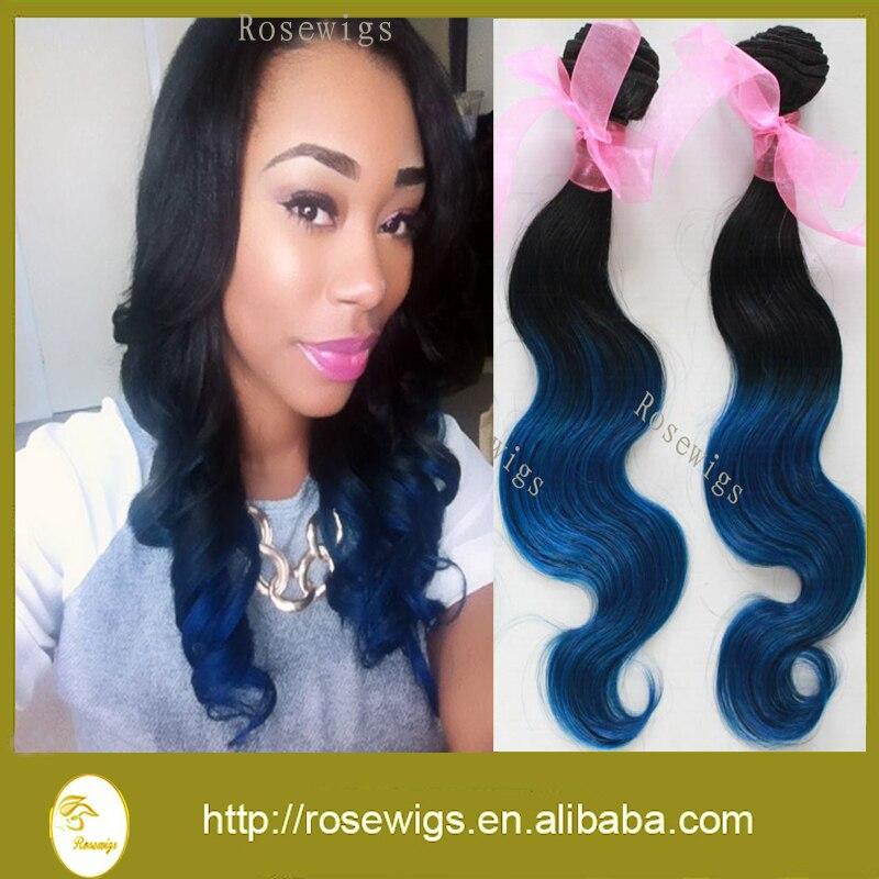 New Ombre Brazilian Virgin Hair Body Wave 1b/Blue Ombre Human Hair Weave 3Pcs/lot Blue Ombre Hair Extensions<br><br>Aliexpress