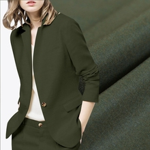 Olive green thin worsted wool fabric for dress coat suit high end serge cloth telas tissus au metre tecidos textile fabric meter(China)