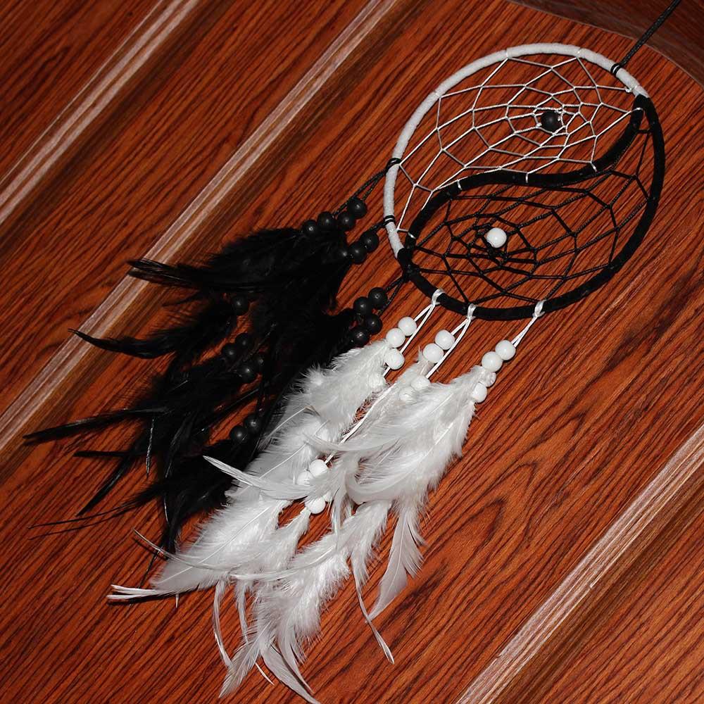 Attrape Rêves Géant Noir et Blanc - Yin & Yang Décoration Chambre Culture Amérindienne, premières tribus d'amérique attrape rêves géant décoration murale pour intérieur
