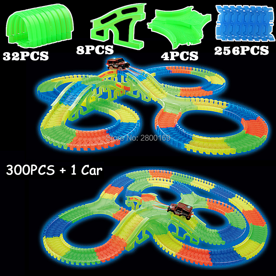 Glow race track Bend Flex Glow in the Dark Assembly Toy 112/160/256/300PCS Slot Race Track + 1PC LED Car Puzzle Educational Toys(China)