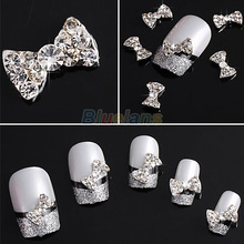 10pcs Wholesale 3D Clear Alloy Rhinestone Bow Tie Nail Art Slices DIY Decorations Free Shipping 023F 4BLG