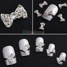 10pcs Wholesale 3D Clear Alloy Rhinestone Bow Tie Nail Art Slices DIY Decorations(China)