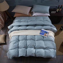 87f2c57200 New 100% goose down winter quilt comforter blanket duvet filling cotton  cover twin single queen king size white grey BLUE