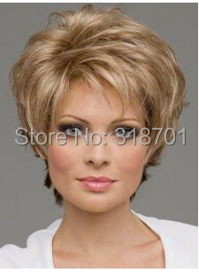 Natural Blonde mix Straight Short Wig For Woman None Lace Wigs Free shipping<br><br>Aliexpress