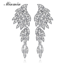 Minmin 4 Colors Bridal Drop Earrings for Women Crystal Rhinestone Eagle Dangle Weddings Earrings Fantaisie Femme Pendantes EH209(China)