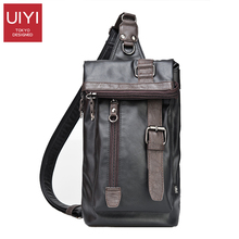 UIYI Vintage Men's Messenger Bag Belt Decoration Leather Tote Shoulder Bag Men Chest pack Knapsack Sacoche Homme