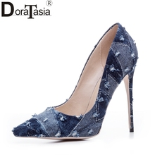 DoraTasia denim eourpean style big size 33-43 pointed toe women shoes sexy thin high heel brand design lady pumps party wedding(China)