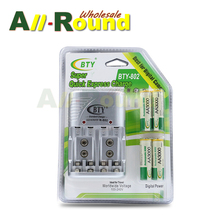 NEW Cheaper BTY 1.2V AA 4*3000mah Rechargeable Ni-MH Battery + BTY-802 AA/AAA Battery charger With Packing Case(China)
