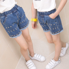 Girls Summer Denim Shorts Kids Summer Children Clothes New Pearl Jeans Hot Pants 4-12 Ages(China)