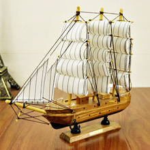 30cm Wooden Ship Craft Sailing Boat Mediterranean Wood Sailboat Model Nautical Pure Manual Decoration Home Decor(China)
