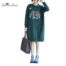 BelineRosa 2017 Women's Hoodies Dresses Winter New Zebra Printing Long Sleeve Keep Warm Tunic Dresses for WomenTYW00572(China)
