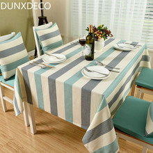 DUNXDECO 1PC Warm Home Classical Blue Green Grey Stripe Linen Cotton Table Cloth Home Store Party Table Decoration Cover Fabric