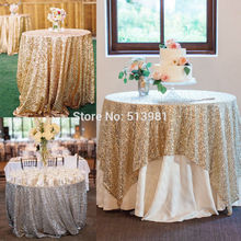 "Sparkly Gold/Silver 40''x59"" Sequin Glamorous Tablecloth/Fabric/Skirt For Wedding Party Event Table Decorations"
