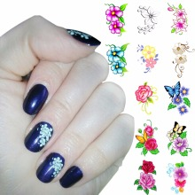 ZKO 1 Sheet Optional Flower Designs Nail Water Decals Butterfly Water Transfer Stickers Nails Tools For Nails(China)
