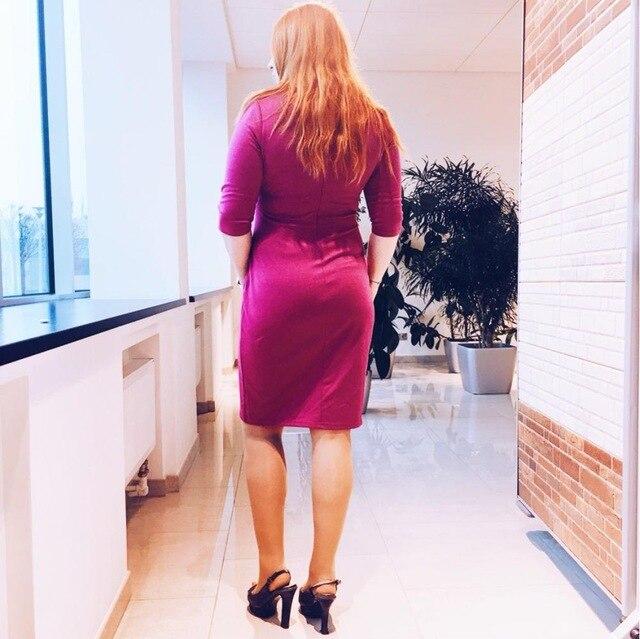 2017 Asymmetric Buttons Office Bodycon Dress Solid Half Sleeve Slit Short Bandage Women Dress Autumn Size Plus S-3XL SPEEDATING