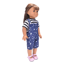 Fashion Dolls T-shirt & Shoulder Strap Pants Set Outfit for 18'' American Girl Our Generation Doll Dress Up Clothes Accessories
